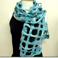 Blue Wool Felt Scarf. Woven Scarves. Turquoise Web