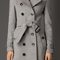 Wool Cashmere Trench Coat with Rabbit Topcollar