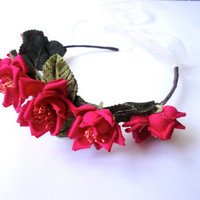 Dark Pink Rose Hair Wreath, Bohemian Gypsy