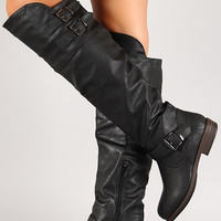Multi Buckle Knee High Riding Boot