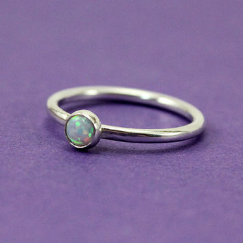 Sterling Silver Opal Stacking Ring - Dainty Opal Ring - Gemstone - October Birthstone - Opal Ring - Silver Stacking Ring