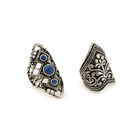 FOREVER 21 Etched & Filigree Ring Set Blue/Silver