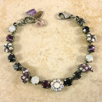 New 6mm Swarovski crystal bracelet, ornate design, amethyst, black, crystal AB, Siggy exclusive