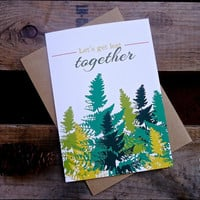 "Let's get lost together card. Hiking lover card. Romantic Love Adventure Card. 5 x 7"" (LT196)"