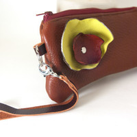 in Bloom Espresso Brown Mini Leather Wristlet Clutch