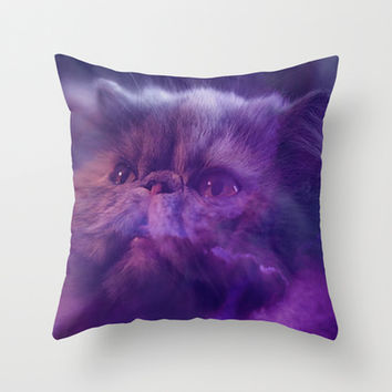 Grey Cat and Purple Sky Throw Pillow by Erika Kaisersot
