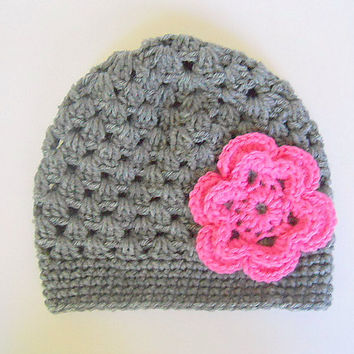 Baby Girl Gray Hat With Pink Flower 3 To 6  Month Infant Fall Cloche Winter Grey Cap Beanie