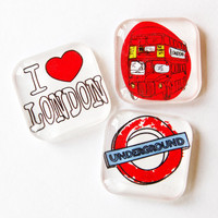 London, Glass Magnets, Fridge Magnets, Travel Magnet, England, I Love London, Double Decker Bus, Underground