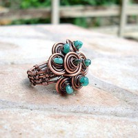 Emerald Cluster Coil Ring by EdisLittleTreasures on Etsy
