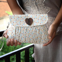 Pleated Wristlet Purse Polkadot brown, mustard yellow and blue