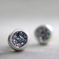 organic fine silver post earrings with iridescent sparkles