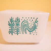 Butterprint Rooster and Corn Pyrex Refrigerator Dish