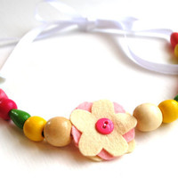 Hadley Ribbon Necklace in Beautiful Bubblegum Colors with Cream and Pink Wool Felt Flower Center