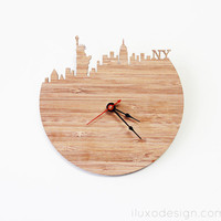 New York Modern Wall Clock - Statue of Liberty, Empire State Building Clock