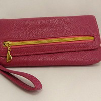 Hot Pink Flap Wristlet, Faux Leather, Syntethic leather