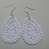 White Lace Earrings - Sterling Silver Earwires - oval floral flower medallion