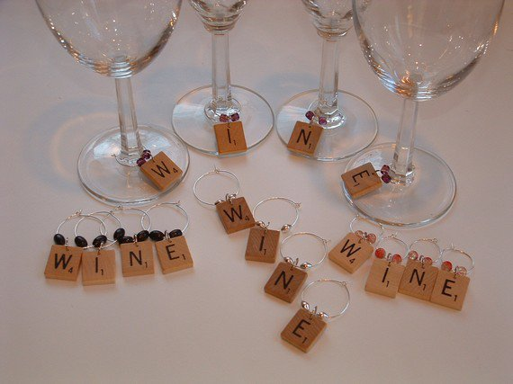Scrabble Wine Charms or Markers - Set of 4 spell WINE - vintage wooden letters - choose beads
