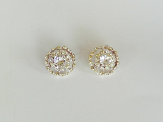 Vintage Clear Rhinestone Earrings