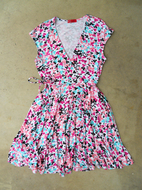 Peony Confetti Wrap Dress [3129] - $42.00 : Vintage Inspired Clothing &amp; Affordable Summer Dresses, deloom | Modern. Vintage. Crafted.