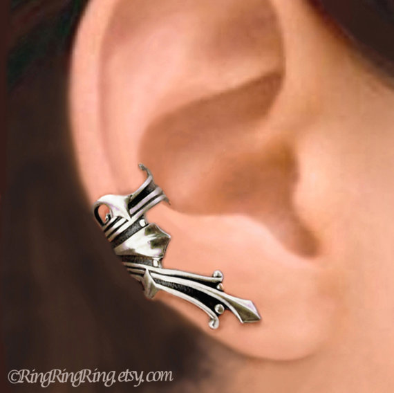 Vestal silver ear cuff earring jewelry - Ancient Roman style Right earcuff for men and women  081112