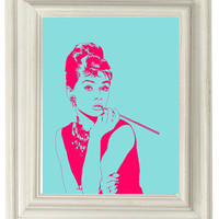 Digital Download No. 010, Breakfast at Tiffanys, Holly Golightly, Audrey Hepburn, Pink and Aqua Print