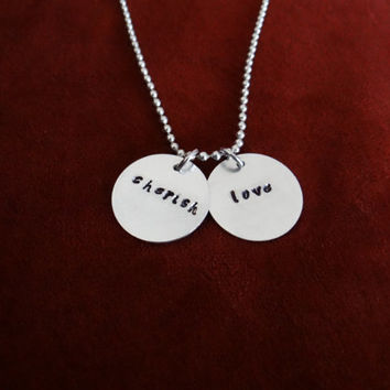 CHERISH and LOVE ... stamped necklace (other pieces can be customized/personalized)