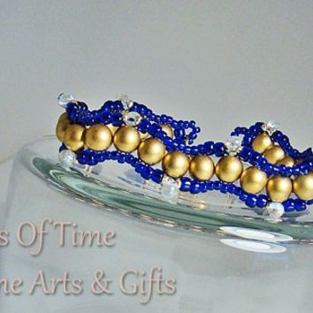 """Gold Royal Blue Winding Path Beaded Bracelet Gold Plate Clasp 6.5"""""""
