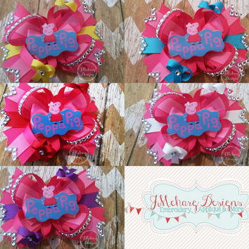 Peppa Pig Stacked Bow with Rhinestones - Birthday Bow