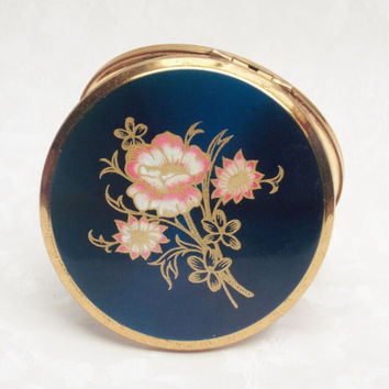 Powder Compact, Stratton Powder Compact, Stratton Compact, Mirror Compact, Compact, Blue, Flowers, Floral - 1960s