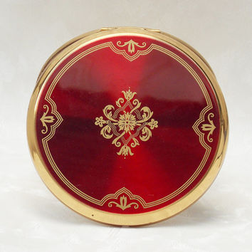 Powder Compact, Stratton Powder Compact, Mirror Compact, Compact Mirror, Red, Gold - 1980s