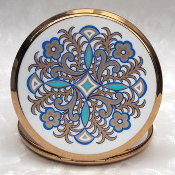 Powder Compact, Stratton Powder Compact, Stratton Compact, Blue, White, Silver, Patterned - 1960s