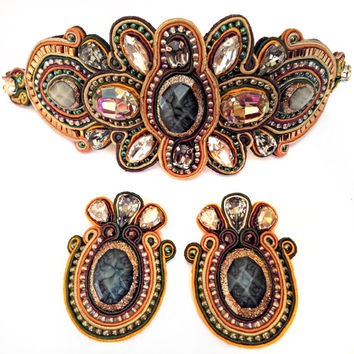 FALLIN' soutache bracelet in green, brown and orange with Free Shipping