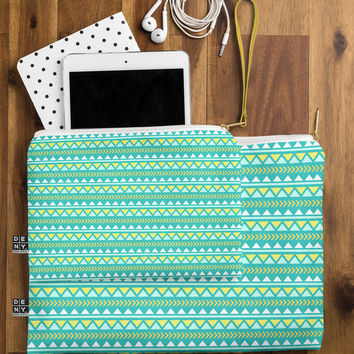 Allyson Johnson Teal And Yellow Aztec Pouch