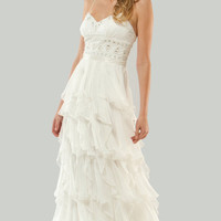 PRE-ORDER**MIGNON 2011 Wedding Dresses - White Beaded Empire Destination Wedding Gown With Ruffled Chiffon Skirt - Unique Vintage - Bridesmaid & Wedding Dresses