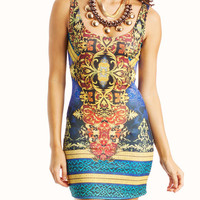 baroque-body-con-dress TEAL - GoJane.com
