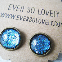 summer nights and starry skies - handmade teal blue sparkly metallic nickel free post earrings