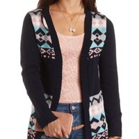 Geometric Open Front Cardigan by Charlotte Russe - Navy Combo