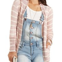 Striped Cocoon Cardigan by Charlotte Russe - Blush Combo