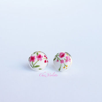 Tiny earrings stud pink floral rose stud earrings - small earring studs