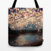 Love Wish Lanterns Tote Bag by Paula Belle Flores