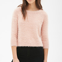 FOREVER 21 Boxy Fuzzy Knit Sweater Pink
