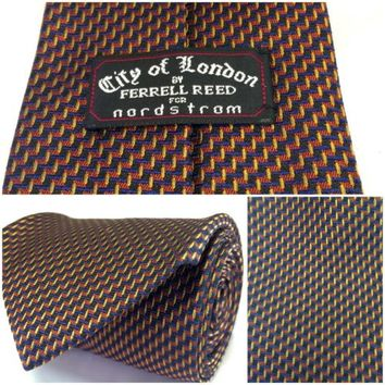 City of London by Ferrell Reed Nordstroms Tie Red Blue Gold Thick Silk Mens