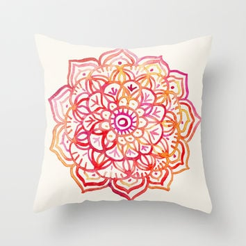 Watercolor Medallion in Sunset Colors Throw Pillow by micklyn