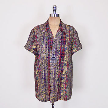 Vintage 70s Batik Tribal Shirt Top Tribal Print Shirt Ethnic Shirt Short Sleeve Button Up Shirt Oversize Shirt Hippie Shirt Boho Shirt S M L