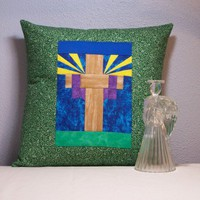 "Quilted Easter Cross Pillow Cover - fits 14"" by 14"" pillow, original design"