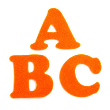 Orange Felt Alphabet Letters - Fabric Applique or Play - Upper Case - Educational - 3 inch die cut