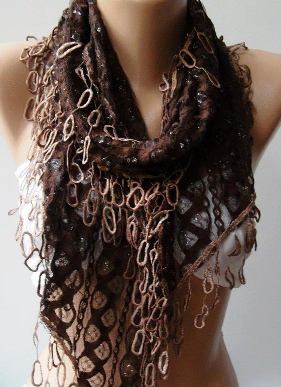 Feminine - Brown Lace and Elegance Shawl / Scarf - with Lace Edge..