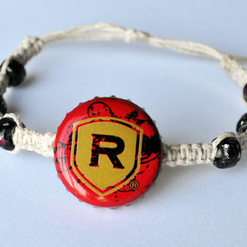 Redds Apple Ale Beer Recycled Bottle Cap Hemp Bracelet, apple jewelry, beer bottle cap, hemp jewelry, summer bracelet, beach