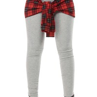 Plaid Stylish Tie Over Gray Leggings