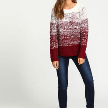 Burgundy Ombre Cable Knit Sweater - LoveCulture